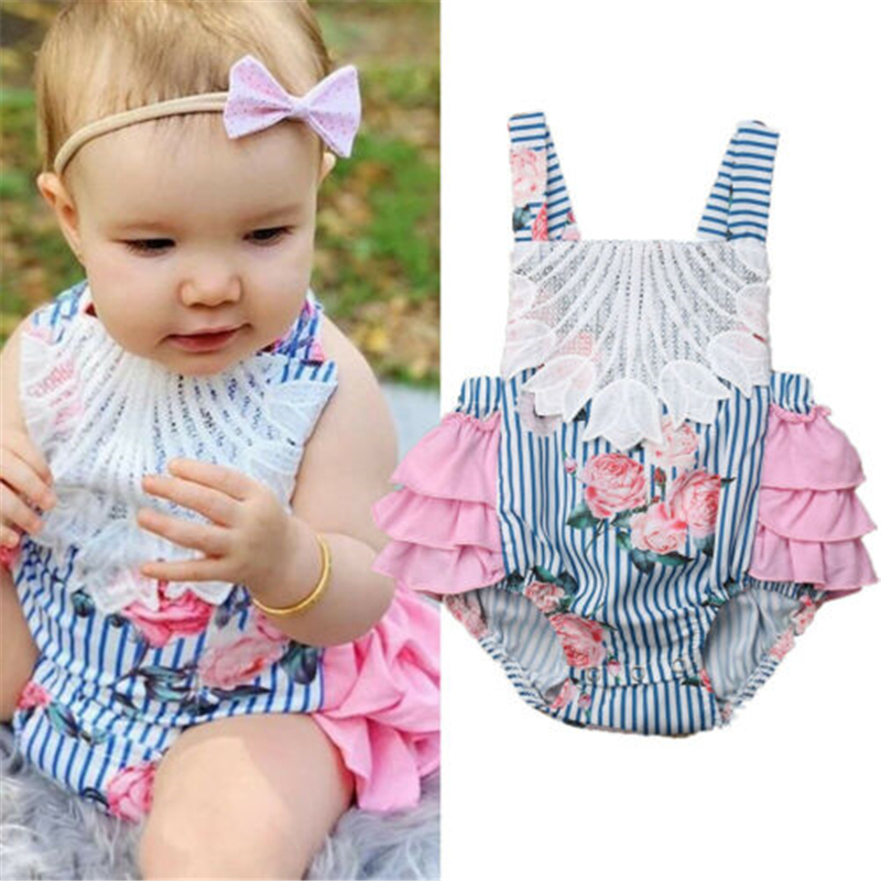 US New Infant Baby Girl Ruffle Sleeveless Leopard Print Romper Jumpsuit Outfits