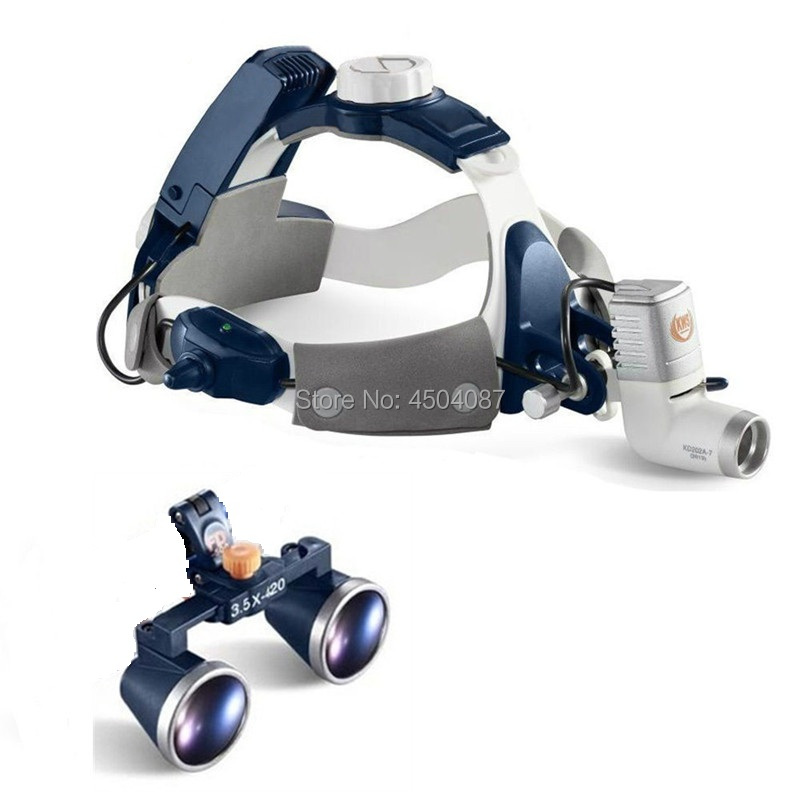 3.5X420mm Loupes médicales loupe binoculaire Loupes chirurgicales dentaires médicales + 5 W LED phare médical phare 2 batterie