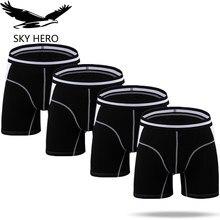 4 قطعة/الوحدة ملابس داخلية رجالية طويلة الملاكمين سراويل داخلية رجالية Boxershort calzonsillos رجل الملاكم زلة أوم مشروط Hombre ماركة
