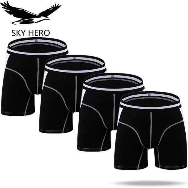 4pcs/Lot Long Boxers Panties Men Underwear Underpants Male Shorts Calzoncillos Man Boxer Slip Hommes Modal Hombre Brand