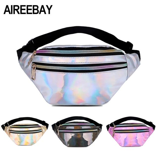 AIREEBAY Holographic Fanny Pack Women Silver Laser Bum Bag Travel Shiny  Waist Bags Fashion Girls Pink 31c98fbf1b11