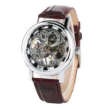 Mens Classic Skeleton Mechanical Watch Luxury Stainless Steel Case Business Hand-Wind relogios masculino