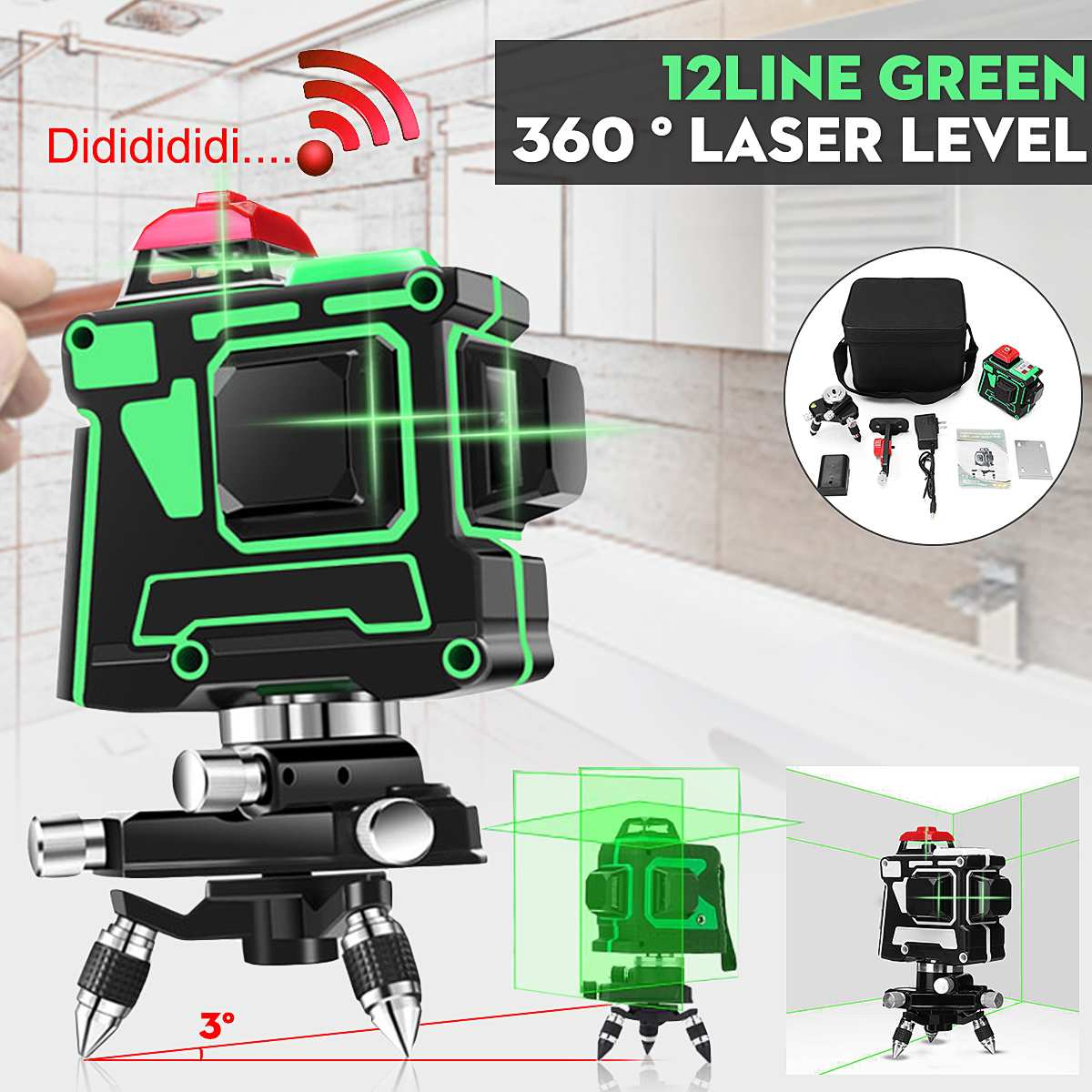 3D 12 Line Laser Level Green Light Auto Self Leveling 360° Rotary Measuring Tool