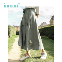 INMAN 2019 Spring New Arrival High Waist Slim Literary Retro Plaid With Belt Loose A line Women Skirt