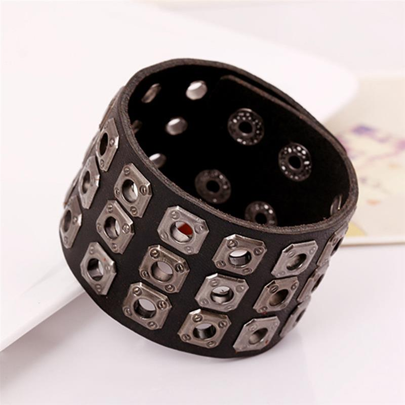 YAKAMOZ Rock Wide Cuff Bracelet Männer geflochtene Nieten breite - Modeschmuck - Foto 5
