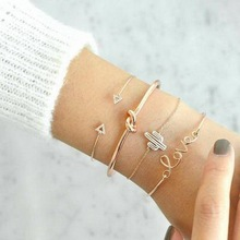 RINHOO 4pcs/1set Gold Color Cactus Letter Knot Bracelet Bohemian Geometric Metal Chain Statement Jewelry 6116