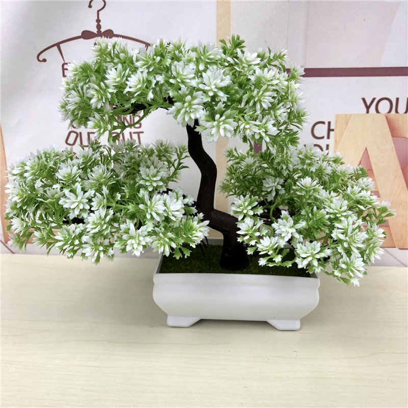Artificial Green Plants Bonsai Simulation Plastic Small Tree Pot Plant Potted Ornaments Christmas Home Garden Decoration 52841