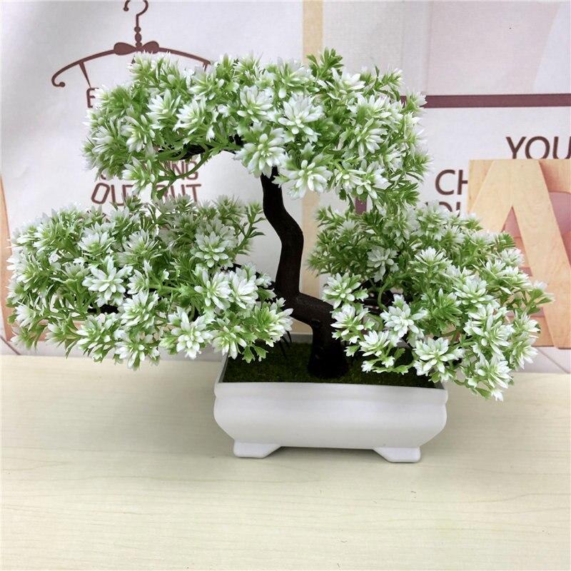 Artificial Green Plants Bonsai Simulation Plastic Small Tree Pot Plant Potted Ornaments Christmas Home Garden Decoration 52841