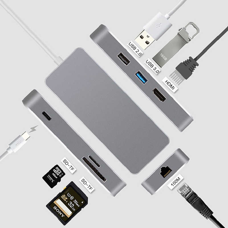 Station de quai LEORY 7 en 1 moyeu de USB C type-c moyeu d'interface HDMI USB 2.0 3.0 carte SD Port Ethernet répartiteur RJ45 pour OS, Windows