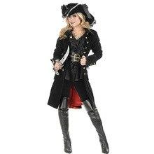Halloween Gothic Pirate Costume Deluxe Female Captain Fantasia Fancy Dress