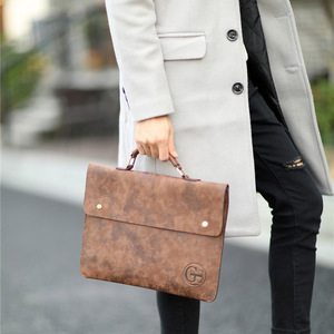 Image 3 - Vintage PU Leather Men Handbag Leisure Mens Bag Business Messenger Bags Portable Briefcase Laptop Package Slim Handbags Male