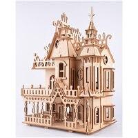 Age 14+ Kids Children 268pcs High precision Laser Cutting Puzzle 3D Wooden Jigsaw Assembly Model Building Kits Dream Villa