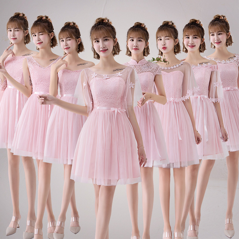 New  Bridesmaid Short Dresses Cute Tulle Appliques Graduation Skirts Wedding Party Elegant Lace Gowns