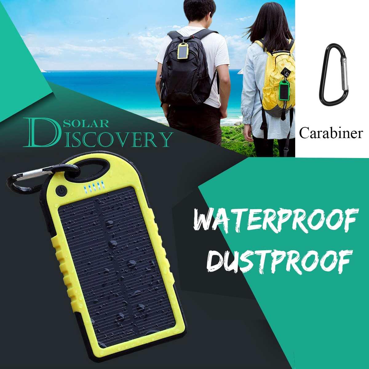 LED Solar Panel Portable Waterproof Power Bank 12000mAh Dual USB Solar Battery Powerbank Portable Cell Phone