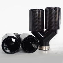 Universal Right + Left Side Glossy  Carbon Fiber Y Style Car Exhaust Dual Pipes for BMW 63mm In 89MM Out