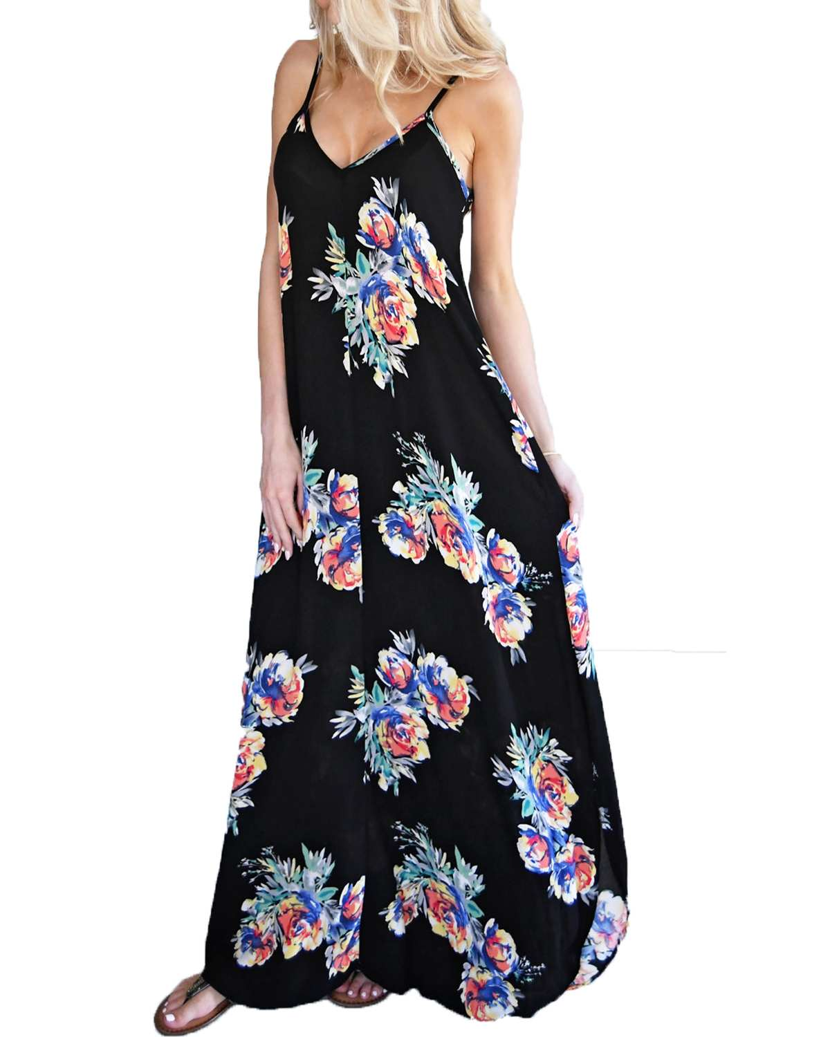 Casual Loose Printed Dresses Women Summer Ladies Sexy V Neck Strapless Sleeveless Bohemian Beach Maxi Long Dresses Vestidos 2019