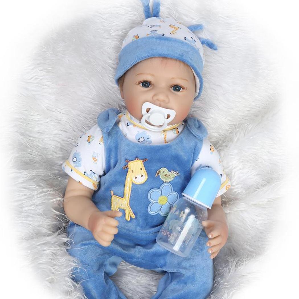 Bleu rose Silicone vinyle Reborn bébé garçon fille 55cm Reborn bébé poupée nouveau fait à la main réaliste Bonecas enfants cadeau d'anniversaire