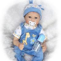 Blue Pink Silicone Vinyl Reborn baby Boy girl 55cm Reborn baby doll New Handmade Lifelike Bonecas Children Birthday Gift