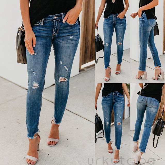 Newest Hot Women Stretch Ripped Distressed Skinny High Waist Denim Pants Shredded Jeans Trousers 1