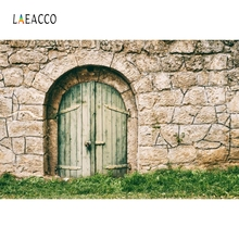 Laeacco Arch Green Wood Door Backdrop Retro Portrait Photography Background Customized Photographic Backdrops For Photo Studio