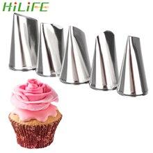 HILIFE Juego de boquillas para glaseado DIY, decoración con crema para tortas, boquillas de pétalos de rosa, utensilios de repostería para hornear magdalenas de acero inoxidable, 5 unidades