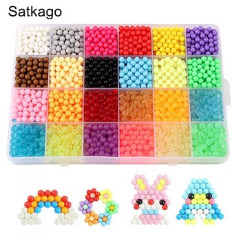 24 Colors 3600 Grains Aqua Water Craft Sticky Beads for Kids Children DIY Crafting Educational DIY Toys Christmas Gifts craft