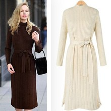 Autumn Winter Women Warm Sweater Dresses Soft Long Sleeve Slim Bodycon Casual Dress Sexy Knitted
