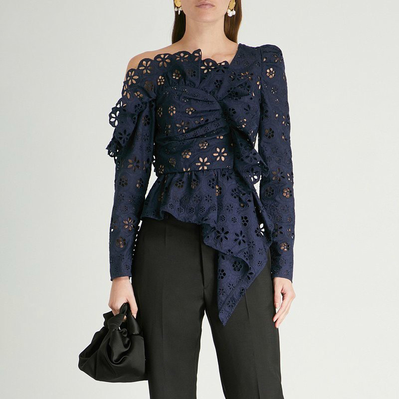 Shock-Resistant And Antimagnetic Nice Lanmrem 2019 Lace Shirts Blouse Female Long Sleeve Off Shoulder Hollow Out Asymmetrical Tops Female Spring Sexy Fashion Wd13100 Waterproof Women's Clothing