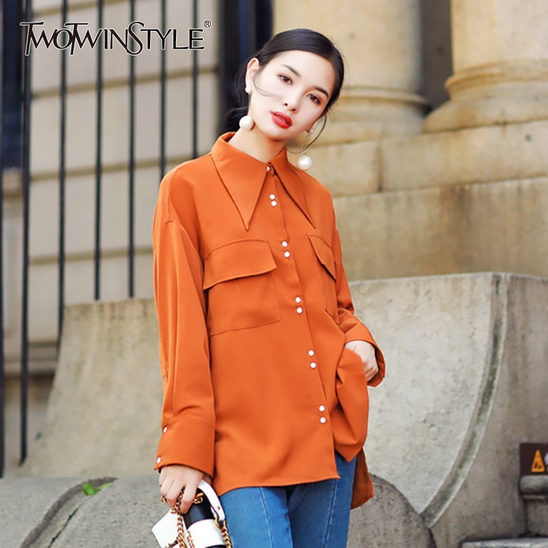 TWOTWINSTYLE Long Sleeve Stain   Blouse     Shirt   Women Turn-down Collar Casual   Shirts   Tops Female Vintage Clothes Big Size Spring New