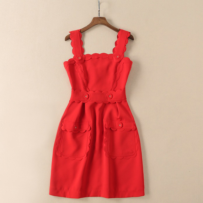 ladies clothes for summer black red scalloped wide shoulder straps button pockets a line mini sundress
