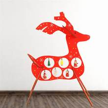 1pc Christmas Wooden Table Elk Decoration Assembly DIY Craft with Pendant Charms for Office Cafe Restaurant Home Decor(China)