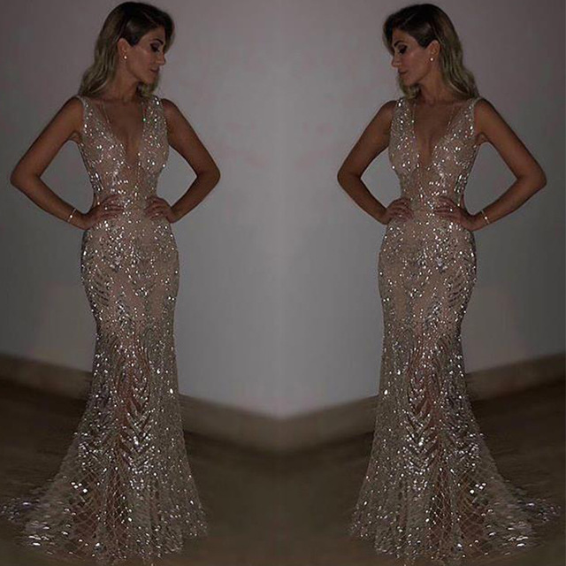 3d5a9d2d Sequined Evening Dresses Long Sexy V-neck Mermaid Sparkle Lace Prom Dresses  2018 Women's Gorgeous Formal Evening Party Gowns