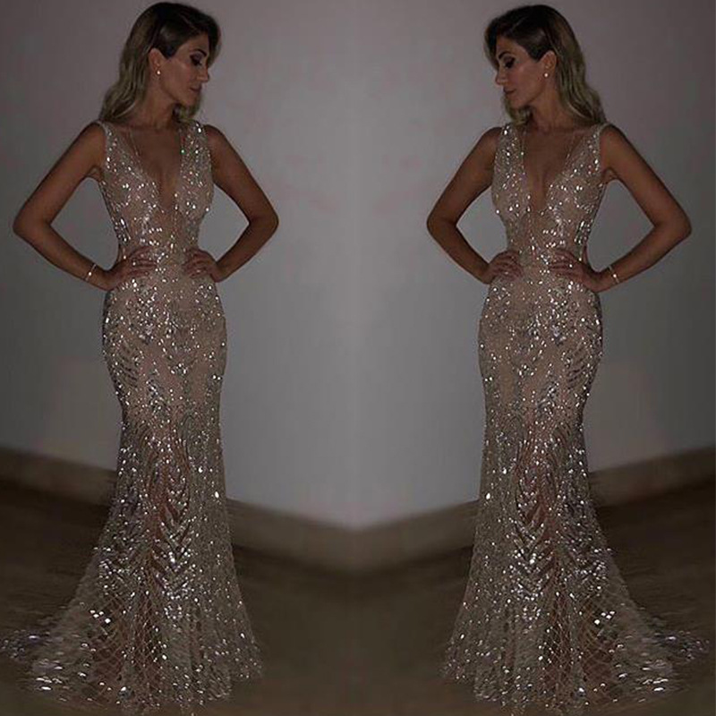 Sequined Evening Dresses Long Sexy V neck Mermaid Sparkle Lace Prom Dresses 2018 Women's Gorgeous Formal Evening Party Gowns