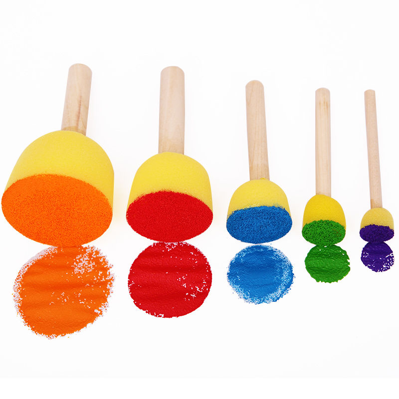 5pcs/set DIY Creative Round Shape Sponge Paint Brushes Wooden Handle Graffiti Painting Brushes For Kids School Painting Supplies