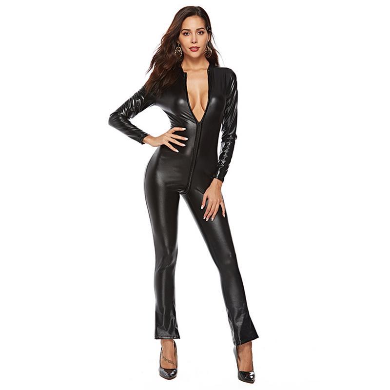 2018 Long Sleeve Sexy Bodysuit Women Zipper Black Pu ...