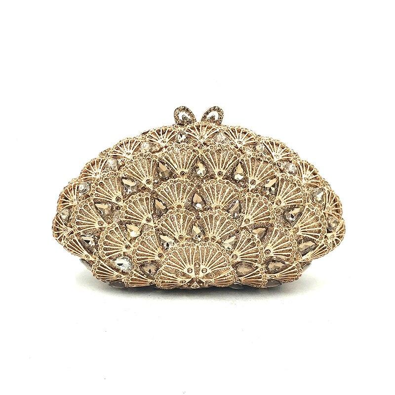 女性のイブニングパーティーバッグダイヤモンドクラッチ高級アクセサリーバッグナイジェリアブライダルウェディングパーティーシェル形状財布クリスタル財布  グループ上の スーツケース & バッグ からの トップハンドルバッグ の中 3