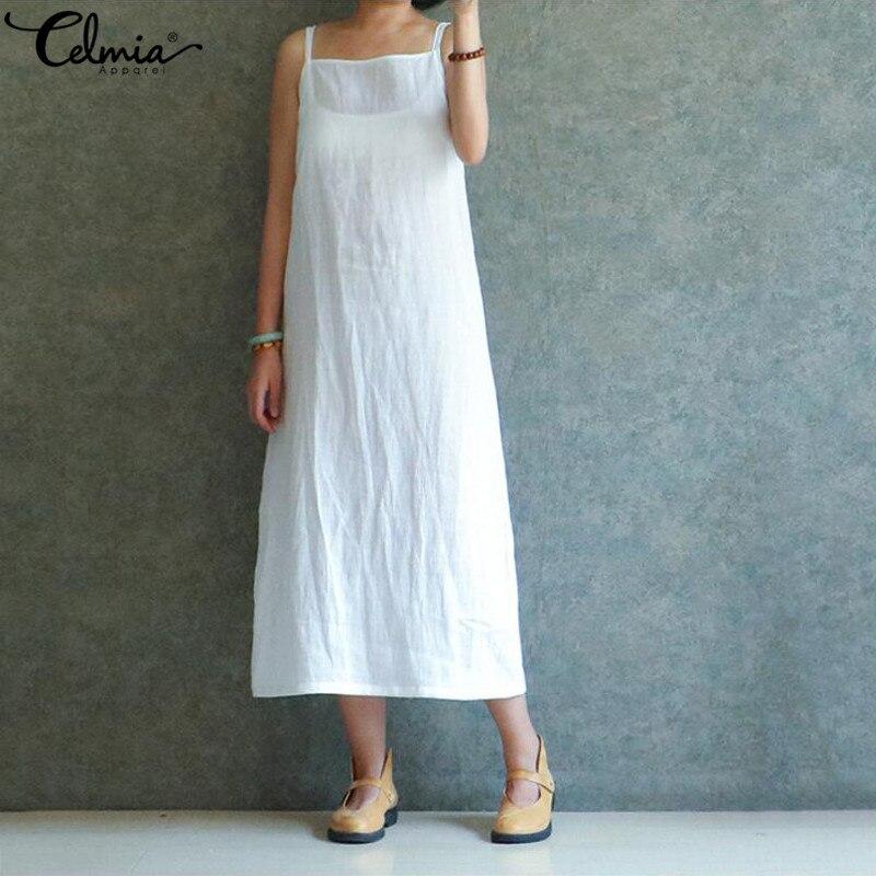 Cellia/платье большого размера 2019 летнее пляжное белое платье для женщин на тонких бретельках без рукавов Свободный Повседневный миди-икры ...
