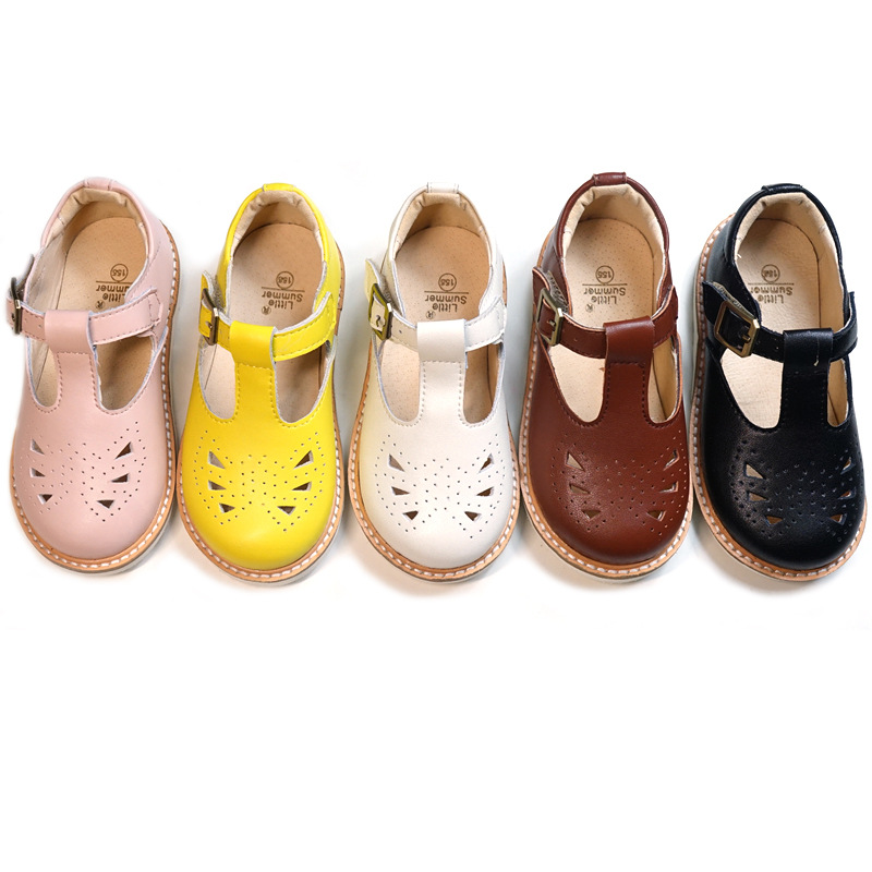 Genuine Leather Girls Sandals Hollow Breathable Baby Princess Shoes Non-slip Hard Bottom Children Sandals