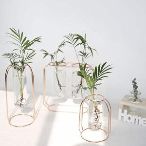 Flower-Vases Wedding-Decoration-Accessories Glass Rose-Gold-Shape Metal Nordic-Style