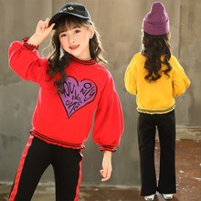 Childrens clothing new spring and autumn models 2019 love foreign girls set letter long sleeve two-piece baby clothes