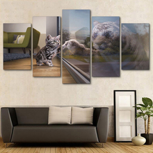 Home Decoration HD Framework Wall Art Poster Modern 5 Panel Animal Cat Tigers Living Room Canvas Print Modular Pictures Painting