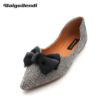 US5-9 Butterfly-knot Woman Flats Pointed Toe Ballet Flat Shoes Girls Bow Casual Big Size