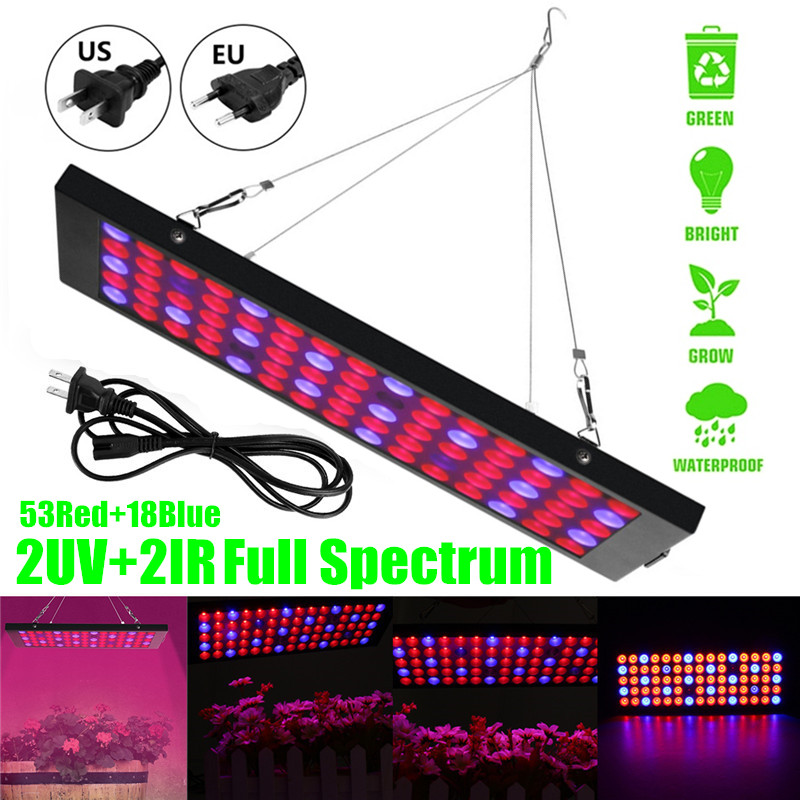 Full Spectrum LED Grow Light Plant Vegetable Indoor Hydroponic Greenhouse  Grow Tent Seedling and Flower 53Red 18Blue 2UV 2IR