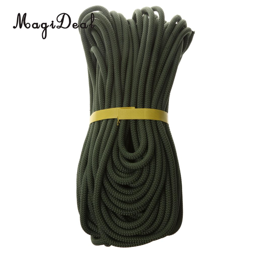 MagiDeal 8 mm Climbing Safety Rescue Sling Rappelling Rope Auxiliary Cord 40m Army Green for Expeditions