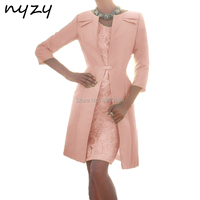 NYZY M119J Pearl Pink Godmother Dress with Bolero 2 Piece Wedding Party Dresses for Mother of Bride Church Suits 2019