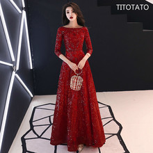 TITOTATO Red Women Dress Lace Vestido De Festa Longo Formatura To The Floor Evening Sexy Sukienki Na Wesele Damskie