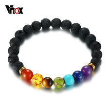 Vnox 7 Chakra Bracelet Men Black Lava Healing Balance Beads Reiki Buddha Prayer Natural Stone Yoga Bracelet for Women Casual(China)