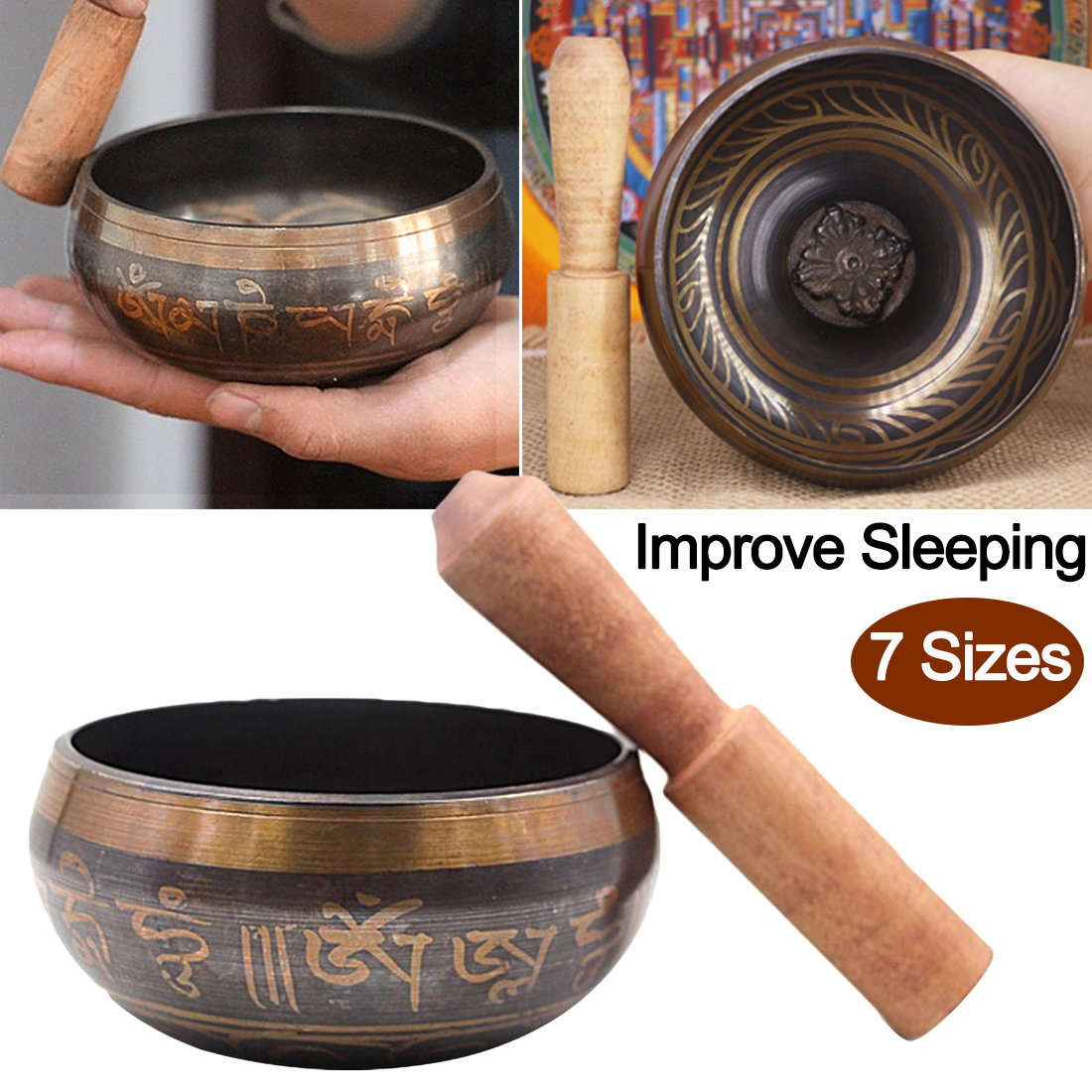 Bowl Copper  Tibetan Buddhism Singing Bowls Handmade Decorative-wall-dishes for Meditation Yoga Buddhism Gifts Home Decor Crafts