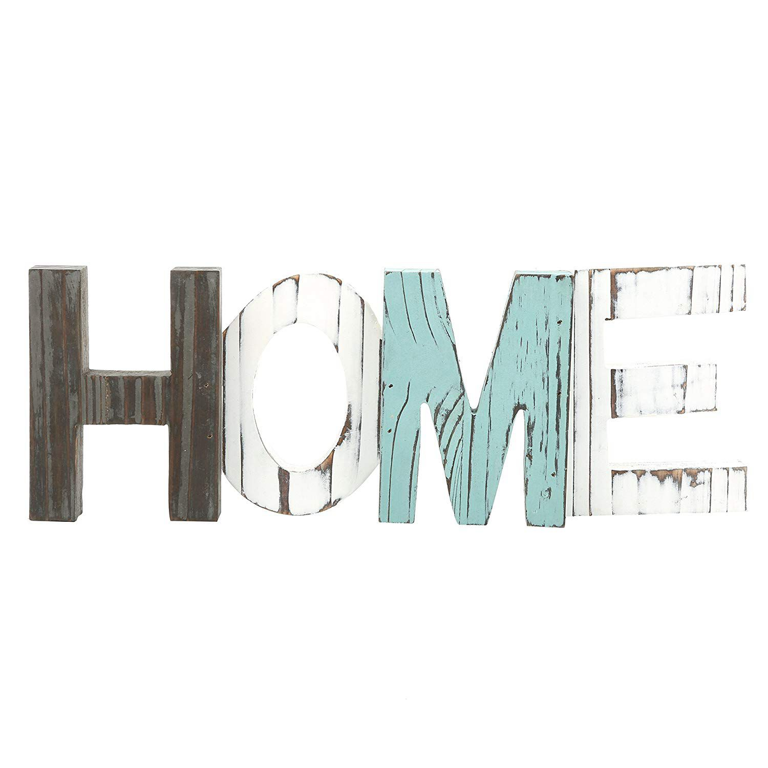 New-Rustic Wood Home Decorative Sign, Standing Cutout Word Decor, Multicolor