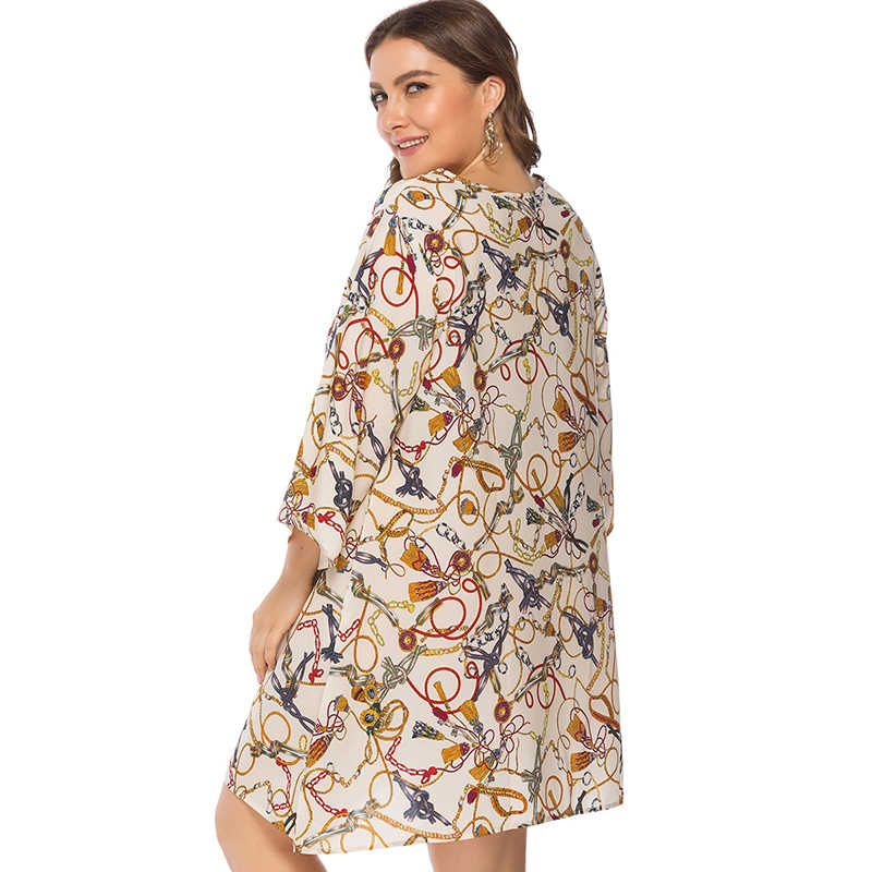 Женское платье с разноцветными цепочками, асимметричный подол, летнее платье 2019 3/4, рукав, свободный, мини, Повседневный, цельный